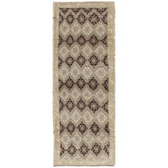 Taupe, Brown, Ivory Vintage Turkish Oushak Runner with Diamond Blossom Motifs
