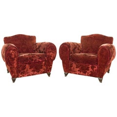 Pair of French Red Mohair Velvet Club Chairs with Floral Pattern