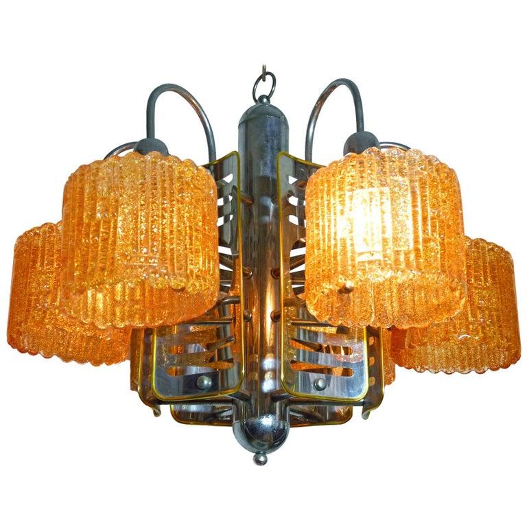 Italian Barovier Toso Murano Amber Art Glass Chrome Sputnik Modernist Chandelier