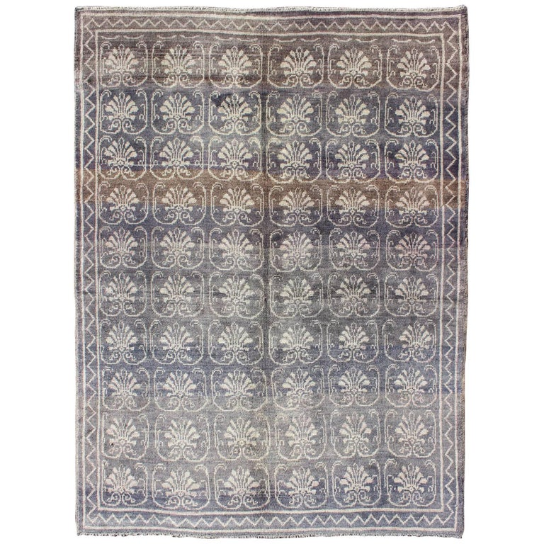 Vintage Turkish Tulu Rug with All-Over Blossom Design in Indigo and Ivory