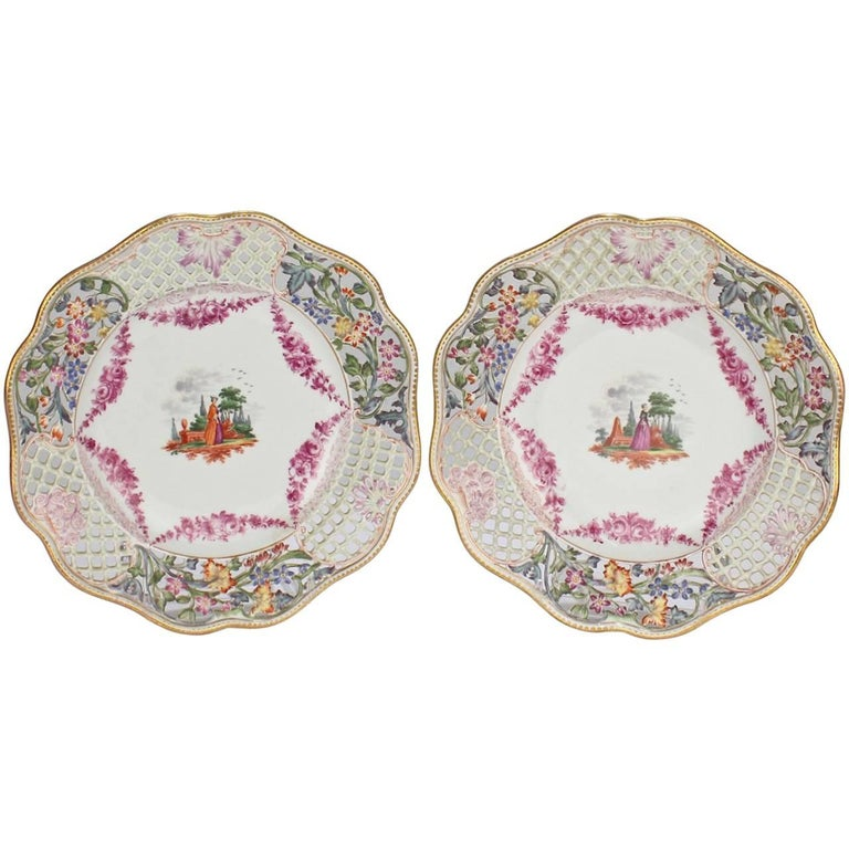Two Antique Dresden Hand-Painted Reticulated Cabinet Plates