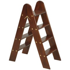Antique French Mahogany and Brass Folding Small Ladder or Step Stool