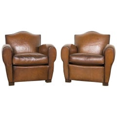 Pair of Two Vintage French Cognac Leather Club Chairs