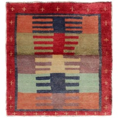 Mid-Century Modern Turkish Tulu Square-Shaped Rug in Multi-Colors