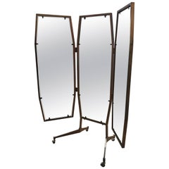 Italian Triptych Standing Mirror on Wheels from 1960s