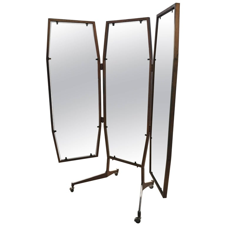Italian Triptych Standing Mirror On Wheels From 1960s For