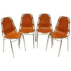 """Leather Chairs Four-Pieces """"Les Arcs Vintage"""" by Charlotte Perriand, France"""