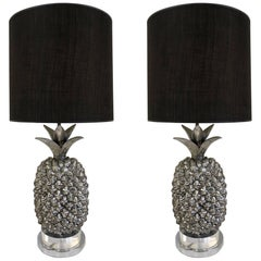 Pair of Hollywood Regency Silvered Pineapple Lamps