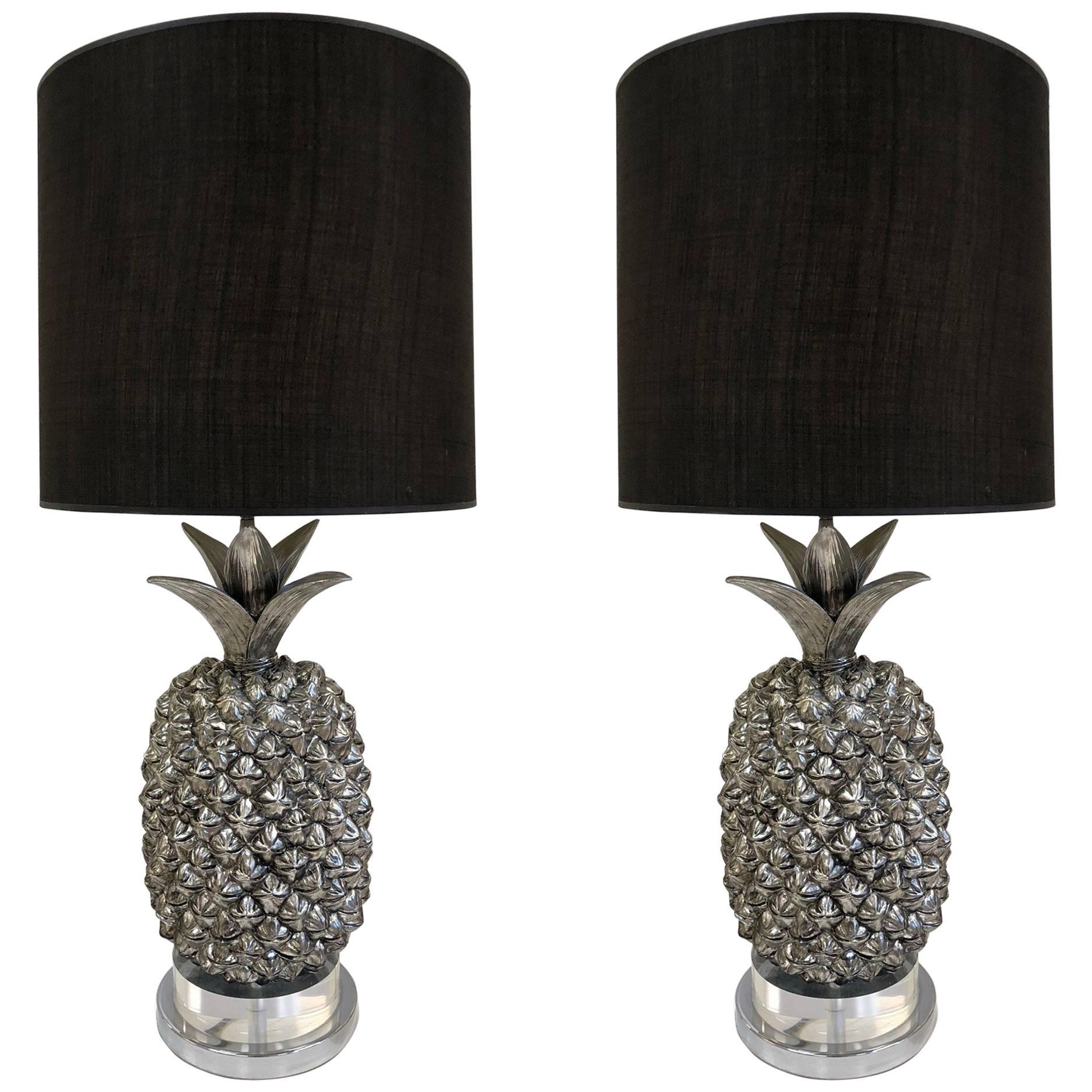Pair Of Hollywood Regency Silvered Pineapple Lamps For Sale