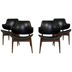 Mid-Century Modern Kodawood Set 4 Lounge Dining Chairs Seymour J. Wiener