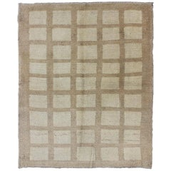 Modern-Design Antique Turkish Square Shaped Oushak Rug in Cream and Camel Colors