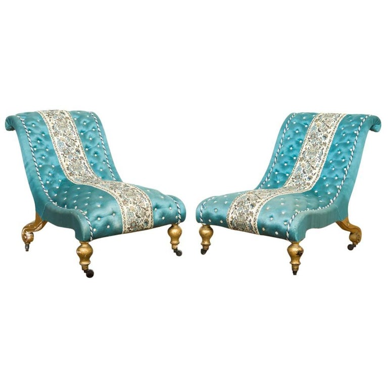 Pair of Two Giltwood Victorian Slipper Chairs in Blue Fabric