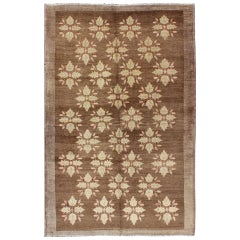 Midcentury Turkish Tulu Rug with Mini Blossom Medallions in Brown and Ivory