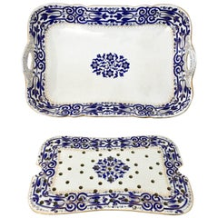 19th Century Hand-Painted Porcelain Serving Tray and Trivet by Fischer & Mieg