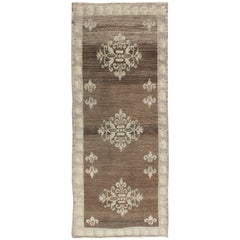 Brown Midcentury Turkish Tulu Runner with Ivory Blossoming Medallions