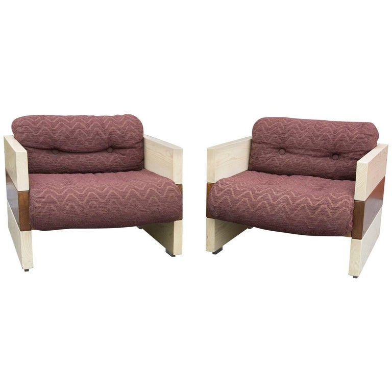 Vintage Italian Armchairs by Albert Leclerc, 1970s, Set of Two For Sale