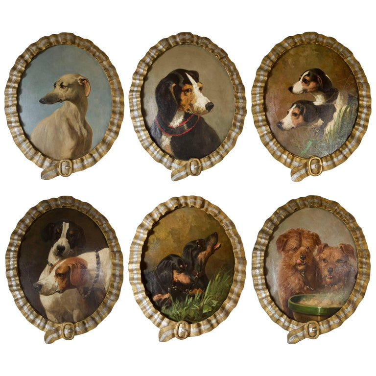 Antique 19th Century Set of Dog's Portrait on Canvas