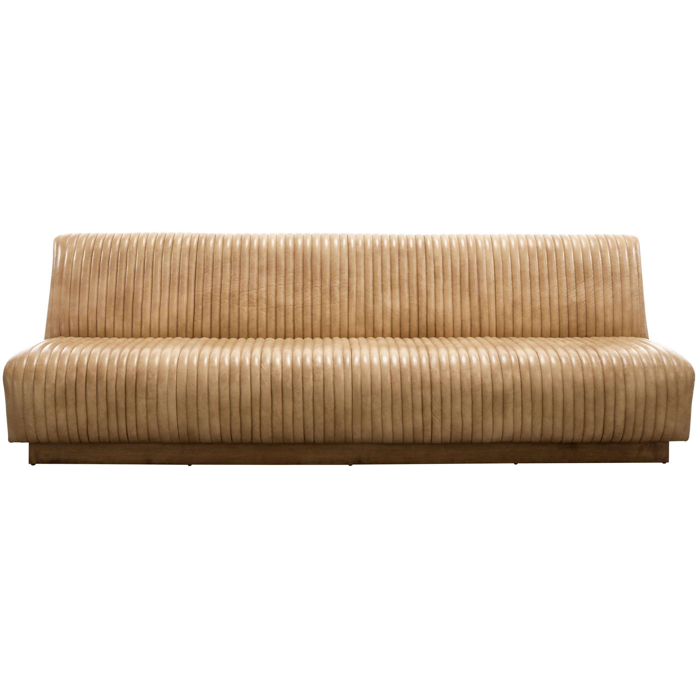 CHANNEL SOFA - Modern Leather Sofa on a Wood Plinth Base