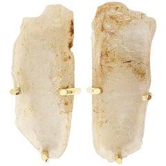 Rare Pair of Natural Rock Crystal Quartz Sconces