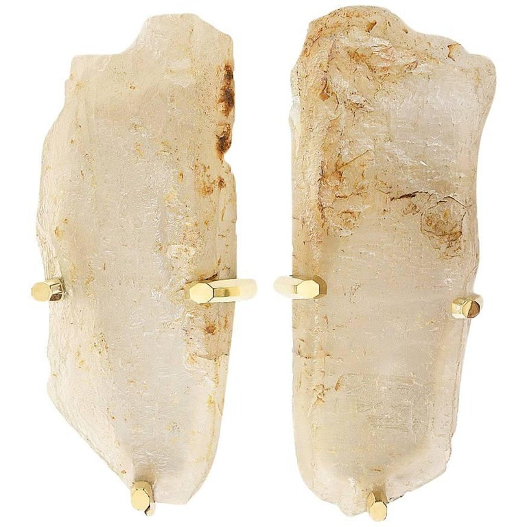 Rare Pair of Natural Rock Crystal Quartz Sconces