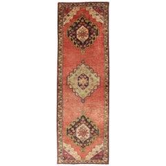 Orange Multi-Medallion Vintage Turkish Oushak Runner with Sub-Geometric Florals
