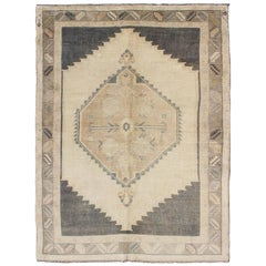 Charcoal, Grey and Cream Vintage Turkish Oushak Rug with Tribal Medallion