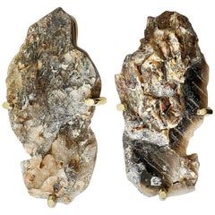 Very Rare Pair Of Natural Smoky Rock Crystal Quartz Sconces