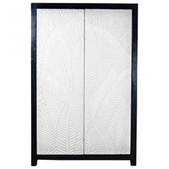 Banana Leaf Armoire, Cream Lacquer by Robert Kuo, Limited Edition, in Stock