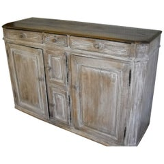 Painted Four-Door Buffet with Stained Top