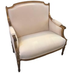Late 19th Century French Giltwood Louis XVI Style Settee
