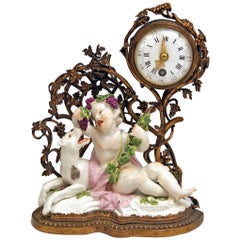 Meissen Mantel Table Clock Bronze Porcelain Autumn Fall Kaendler, circa 1745