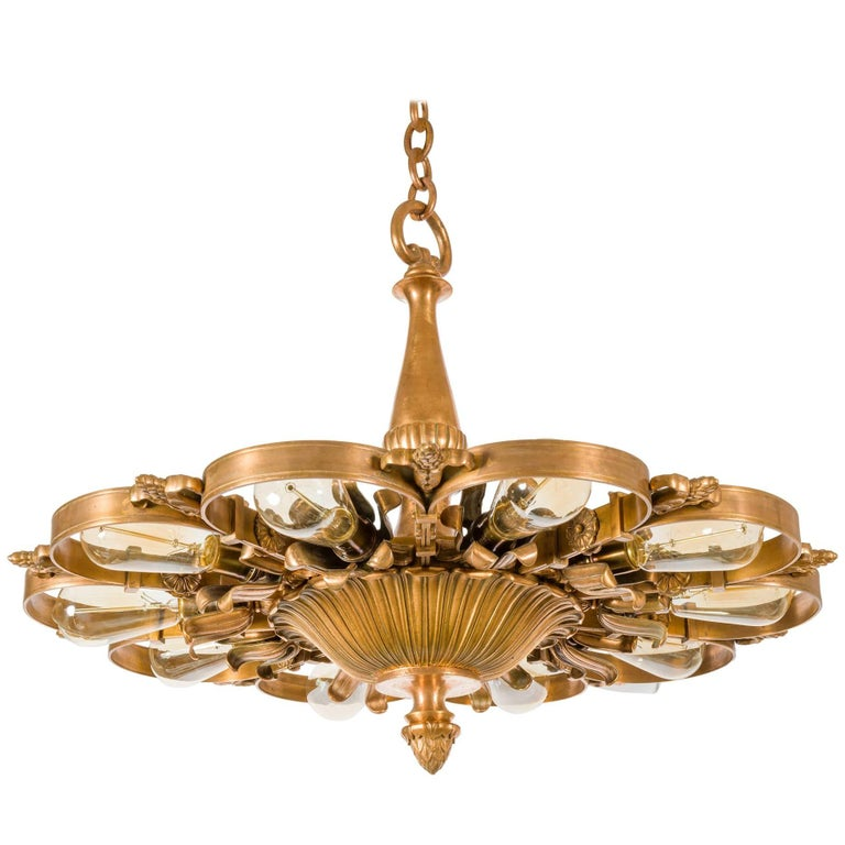 E. F. Caldwell Bronze Neoclassical Chandeliers, USA, 1920s For Sale