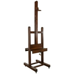 Rare Large Double Sided French Floor Easel For Two Paintings Adjustable Height
