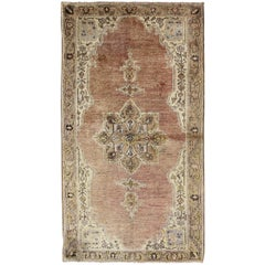 Medallion Design Oushak Vintage Rug from Turkey in Burnt Orange and Cream