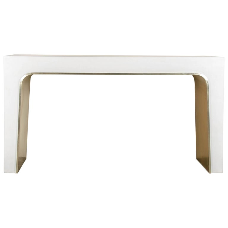Arch Console, Cream Lacquer by Robert Kuo, Limited Edition, in Stock