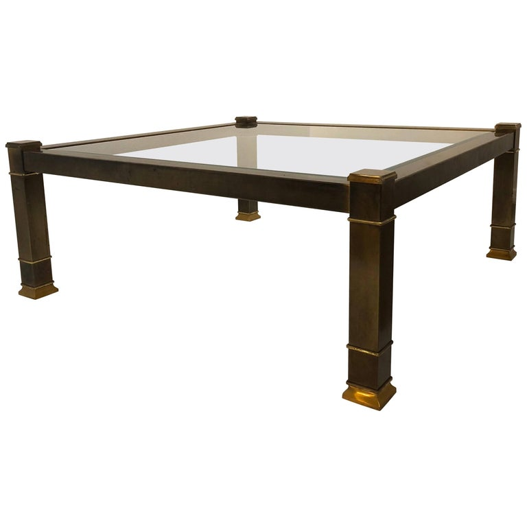 40 Metal Square Coffee Tables: Patinated Square Brass And Glass Coffee Table By