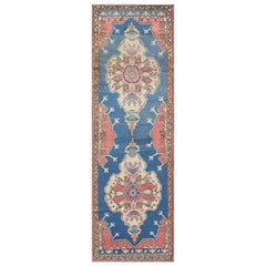 Grand Dual Medallion Oushak Vintage Runner from Turkey in Red and Blue