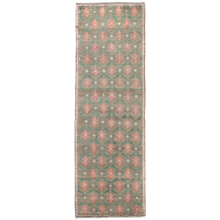 All-Over Design Vintage Turkish Oushak Rug in Hunter Green and Salmon Pink