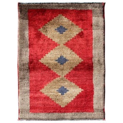 Midcentury Turkish Tulu Rug with Diamond Design in Bright Red and Tan Colors