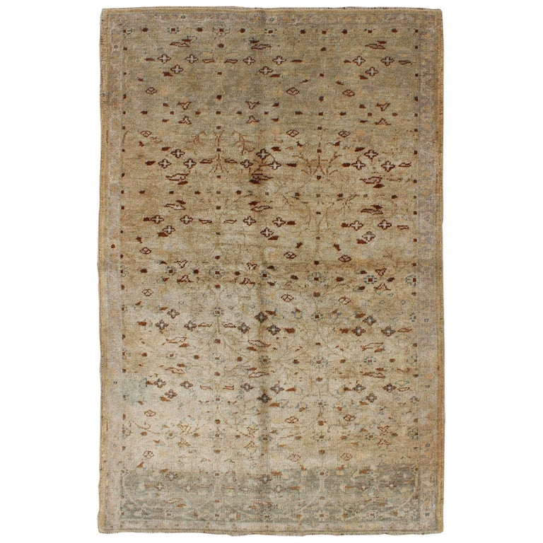 Sand-Colored All-Over Design Vintage Turkish Oushak Rug with Dark Brown and Gray