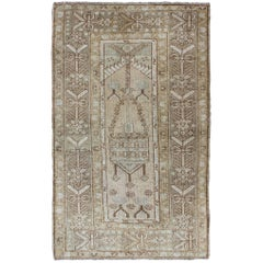 Stylized Tribal Design Vintage Turkish Oushak Rug in Taupe, Ivory, Cream, Brown