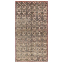 Gray Background Vintage Turkish Oushak Rug with All-Over Design in Red and Green