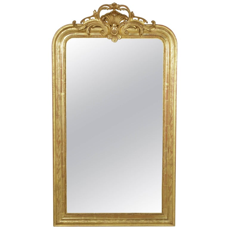 French Incised Gilt Wood Louis Philippe Mirror With Regency Flourish