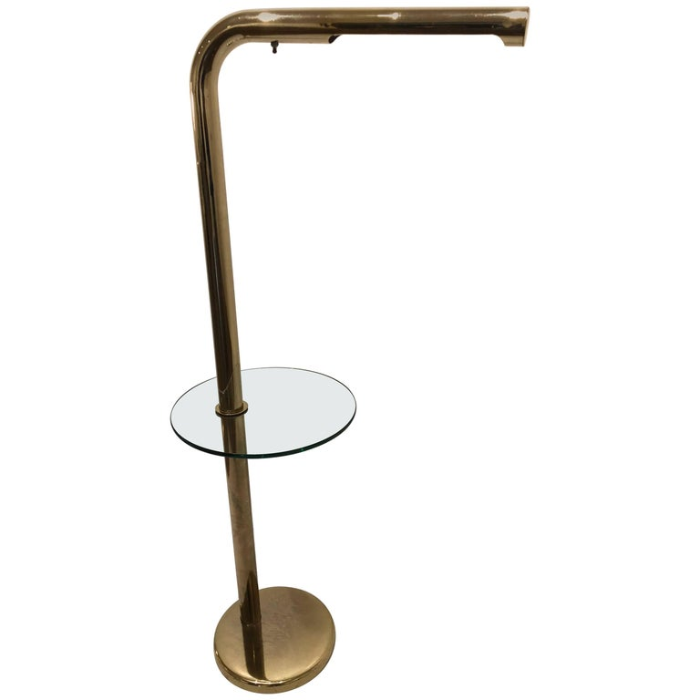 1970s Brass Floor Lamp with Glass Table by Robert Sonneman