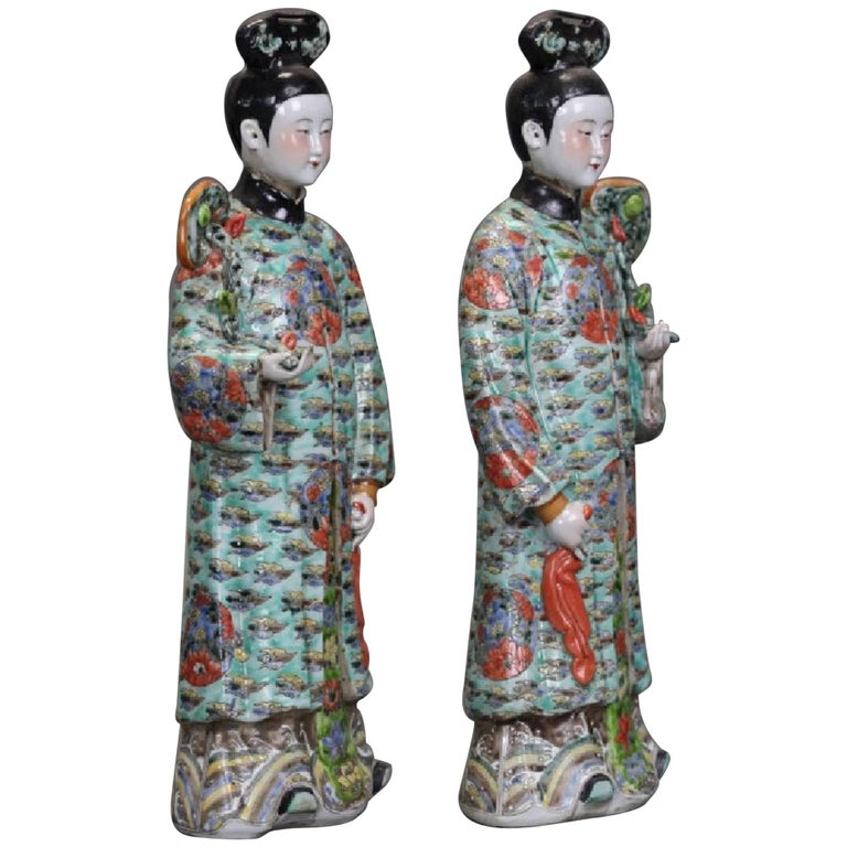 Pair of Chinese Porcelain Nodding Sculpture of Court Ladies For Sale