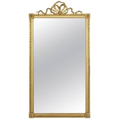 19th Century French Louis XVI Style Giltwood Mirror with Ribbon and Bow Motif