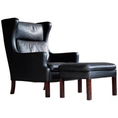 Borge Mogensen Style High Back Lounge Chair and Ottoman in Black Leather