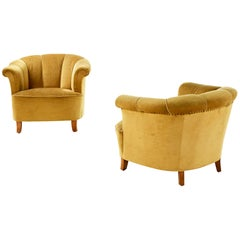 Otto Schulz Pair of 1940s Lounge Chairs for Boet, Scandinavian, Midcentury