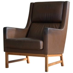 Midcentury Kai Lyngfeldt Larsen Style High Back Lounge Chair in Brown Leather