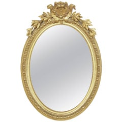 19th Century French Giltwood Regency Style Oval Mirror, Powder Bath Scale